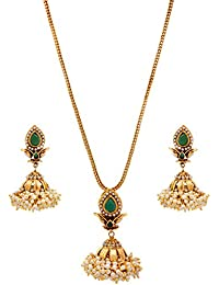 JFL - Traditional Ethnic One Gram Gold Plated Stone Designer Pendant Set With Pearls For Women & Girls