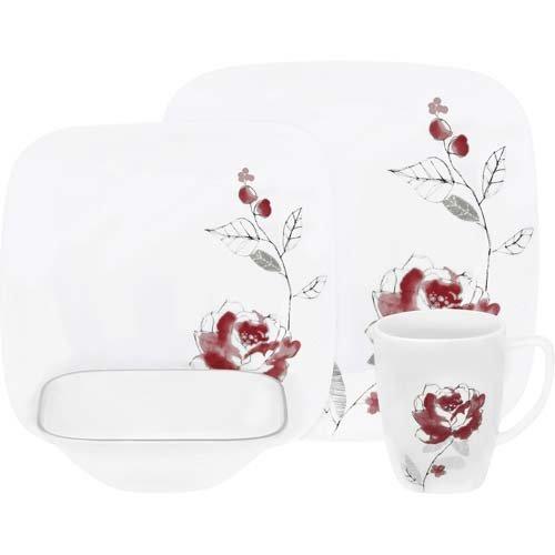 Corelle Geschirr-Set Blushing Rose aus Vitrelle-Glas für 4 Personen 16-teilig, splitter- und bruchfest, - Geschirr-set Square Rot