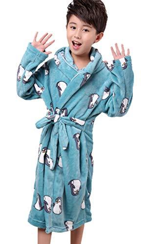 XINNE Jungen Mädchen Kapuzen-Bademäntel Unisex Kinder Morgenmantel Flanell-Pyjama Weiche Herbst Winter Nachtwäsche Größe XS Blauer Pinguin