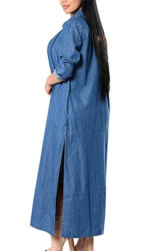Le Maniche Lunghe Maxi Camicia Jeans Giacca Cappotto. Blue