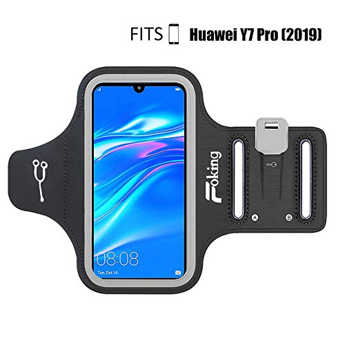 Foking Sportarmband Handy,Sportarmband Hülle für Huawei Y7 Pro (2019),Multifunktion, mit Einstellbarer Größe, Safey Design, ideal für Fitness, Fitness, Wandern, Joggen, Radfahren