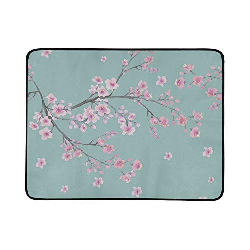 EIJODNL Branch Cherry Blossom Flowers Portable and Foldable Blanket Mat 60x78 Inch Handy Mat for Camping Picnic Beach Indoor Outdoor Travel Apple Blossom Pattern