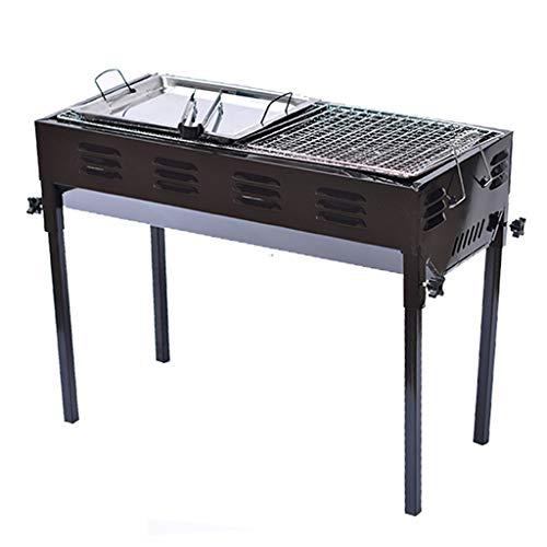 Barbecue@ Griglia Carbone di Legna BBQ Griglia Multifunzione in Acciaio Inox Ripiano per Grigliate in Carbone Selvaggio Portatile Set Attrezzo All'aperto Carbone