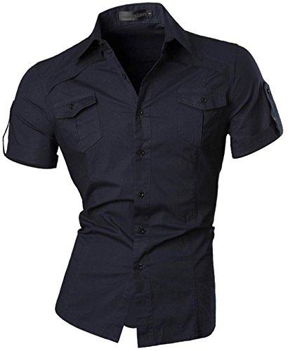 jeansian Herren Freizeit Hemden Shirt Tops Mode Kurzarm-shirts Slim Fit 8360_Navy M [Apparel]