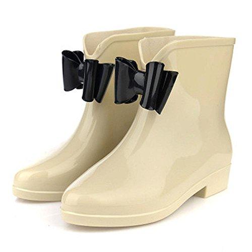 Printemps et automne mode dames bottes de pluie beige