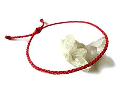Bracelet Rouge Corde Simple | Fin Cordon Rond Souple de 2 mm | Tressé Avec Du Fil Ciré | Ajustable Unisexe et Résistant à l' Eau | Kabbalah | #38