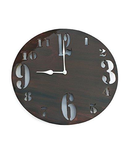 World Crafts Dinines Crafts 'Bigsmallnum Round' Wooden Wall Clock (25.5 Cm X...