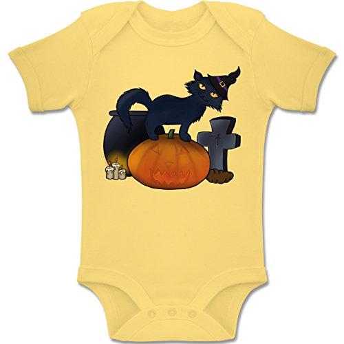 Anlässe Baby - Halloween Katze mit Hexenhut - 3-6 Monate - Hellgelb - BZ10 - Baby Body kurzarm Jungen (Kostüme Halloween Drei Die Freunden Für Besten)