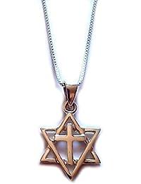 Messianic estrella de David judíos por Jesús cristianos para Isreal Cruz colgante w/cadena tierra