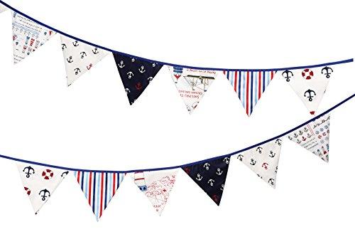 Kalinka Bunting Banderines con Motivos nautischen, Dekoratives Banner de algodón 100% con 12Banderas de Doble Cara. Ideal para Interior & Exterior/. Ideal para Fiestas de bebé, Bautizo, Boda