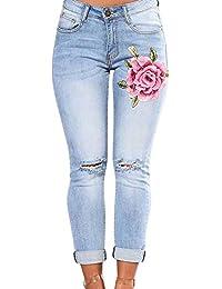 K-Youth® Elástico Vaqueros Ajustados Largos con Bordados para Mujer  Pantalones Vaqueros Rotos Mujer e829035f6f2