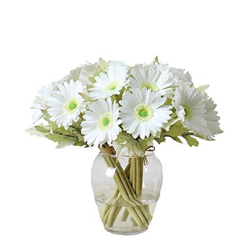 ch PU Künstliche Barberton Daisy Gerbera Daisy Blumen Strauß Bouquet Arrangements für Urlaub Bridal Bouquet Home Party Decor Bridesmaid weiß ()