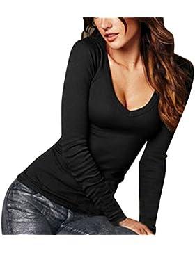 ISSHE Camisetas Ajustadas Cuello V Manga Larga Mujer Camiseta Interior Para Dama Camisas Camisa Top Chica Blusas...