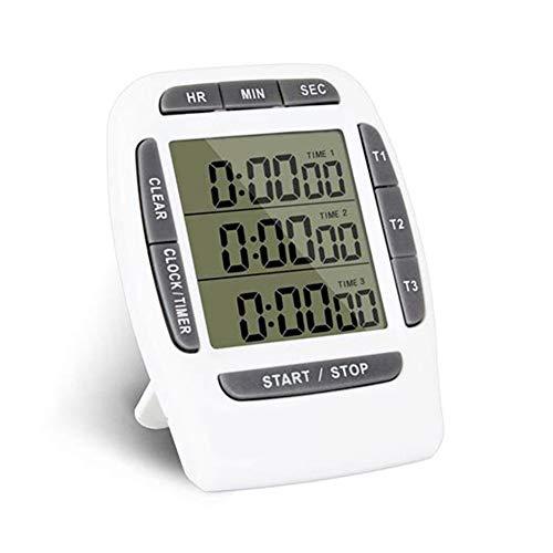 JUZEN Digital Timer, Multi-Funktions-LCD-Display-Timer DREI-Kanal-Display Küche Timer Wecker elektronische Countdown-Timer, grau Multi-format Lcd