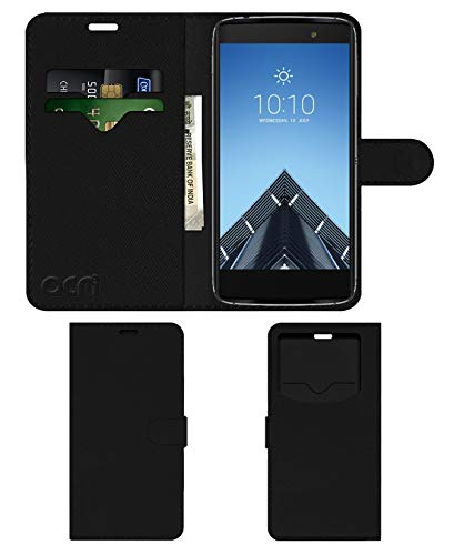 Acm Leather Window Flip Wallet Front & Back Case for Alcatel Idol 4s Mobile Cover Black
