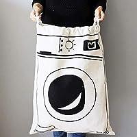 Kotila Cute Large Canvas Storage Toys Bag 65 * 45cm Heavy Duty Drawstring Laundry Clothes Bag Laundry Wash Hamper Large Storage Travel Stuff Gym Toy Hanging Bags (1PC washing machine)(A)