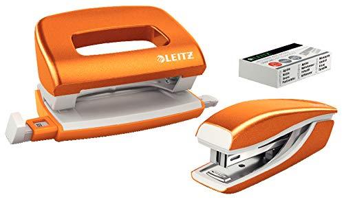 Leitz 55996044 Mini-Heftgerät-und Locher-Set (für bis zu 10 Blatt, Inkl. Heftklammern, WOW) metallic orange