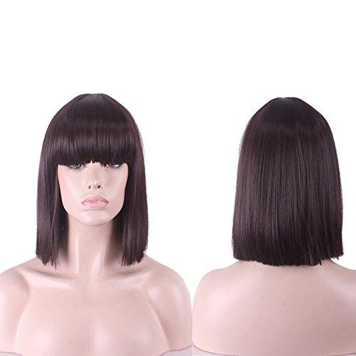 Urparcel Cheveux longue Lisse Perruque courte synthétique Perruque Bob Naturel Pour Femme Vie quotidienne 360 Marron foncé