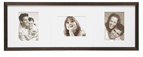 Deknudt Frames S41VK3-P3-13.0X18.0 Fotorahmen, für 3 Fotos, mit Passepartout, Harz, 78,4 x 13 x 18 cm, Braun