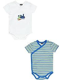Jacky Boley Baby Jungen Wickel-Body kurzarm 2er-Pack Dino blau 6151785