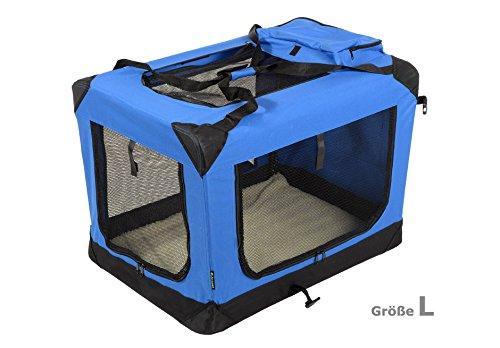 Jespet Hundetransportbox faltbar - soft Transportbox für Tiere– klappbare Transporttasche Hunde, Katze & Kleintier L Royalblau