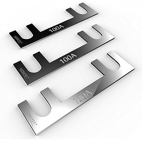 Auprotec® fusibile a nastro 30A - 150A fusibili stripe selezione: 100A Ampere, 3 pezzi - Fusibile Nastro