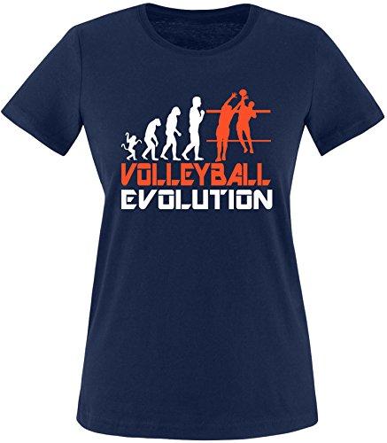 EZYshirt® Volleyball Evolution Damen Rundhals T-Shirt Navy/Weiss/Orange