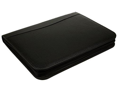 alsero Konferenzmappe mit Taschenrechner und Notizblock, Kunstleder Material, A4Größe, schwarz oder burgund schwarz (Taschenrechner Business Card Holder)
