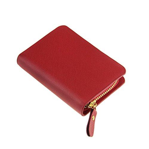 FakeFace PU Leder Schlüsseletui Schlüsselmäppchen Autoschlüssel Etui Mäppchen Damen Herren Schlüsseltasche Car Key Case Tasche Schlüsselbörse Schlüsselanhänger Ledermäppchen (Kaffee) Rot