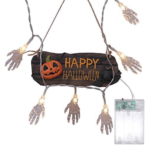 Sayla Halloween Dekoration 20 LED Lichterketten dekoriert Hand Knochen Batterie Lichterkette für Halloween Party Cosplay Parteien Maskeraden Schule zu Hause Club Lichtdekorationen
