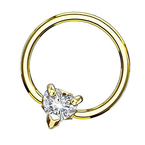 Piersando BCR Piercing Klemmring Ring mit Kristall Herz Klemm Kugel Septum Nasen Lippen Helix Ohr Tragus Gold 1,2mm x 10mm x 3mm -