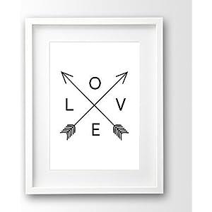Love Print ungerahmt, schwarz weiss Typografie skandinavisch, Pfeile