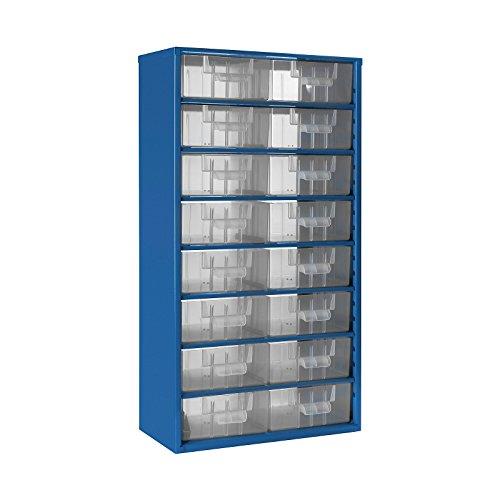 Schubladenmagazin mit 16 Schubladen- Gehäuse-Traglast 60kg- Klarsichtmagazin mit glasklaren Schubladen- Gehäuse aus Stahlblech in lichtblau