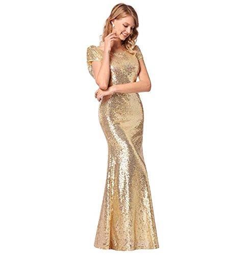 da2fc389a72d Onfly Frauen Rundhals Cap Sleeves Pailletten Party DRE Maxikleid Sexy  Backless Golden Zipper Perlen Bling Mermaid
