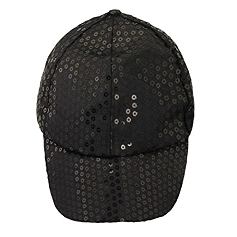 Fulltime(TM) Unisex Sequins Classic Adjustable Baseball Caps CASUAL SPORTS LEISURE (Black)