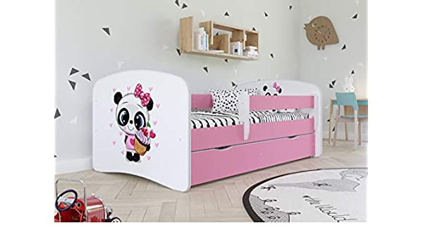 BD 180x80, Panda Wonderhome24 Pink Toddler Girl Bed Kids Bed Princess Horse Childrens Single Bed with Mattress and Storage Included