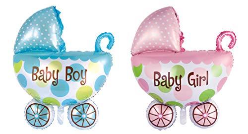 wuselwelt (588370, Blauer Folienballon Kinderwagen 100 x 73 cm, mit Schriftzug Baby Boy, mit Luft oder Helium befüllbar, Baby Willkommen, Babyparty, Pinkelparty (Baby Boy Spielzeug Kinderwagen)