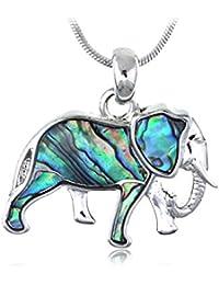 Concha de abulón de cuerpo Mini zoológico colmillos de elefante colgante de animales de la fauna