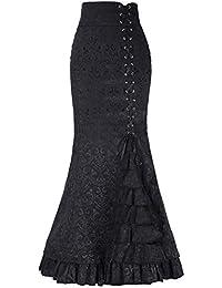 Là Vestmon Elegante Retro Victoriano Mujer Falda Larga Cintura Alta Sexy Volante de Cola de Pescado