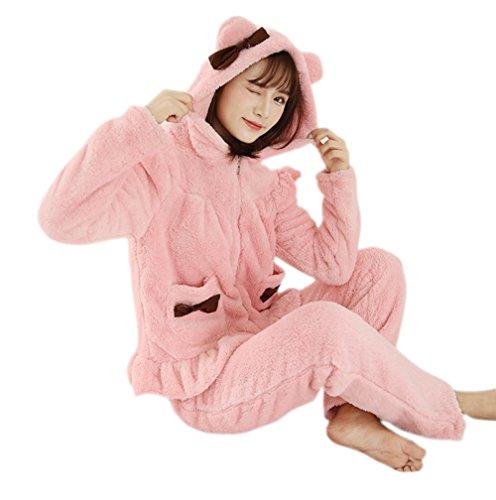 Honeystore Pyjama Tieroutfit Tierkostüme Schlafanzug Tier Onesize Sleepsuit mit Kapuze Erwachsene Unisex Flanell Bär Kostüm festival tauglic Rosa-01 L (Schwarzer Set Bär Pyjama)
