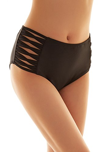 SHEKINI Mujer Negro Braguita Pantalones de Cintura Alta Bikini Braga Ropa Interior Natación Talla Grande S-XXXXL (XXX-Large, Cross Strapped Sides)