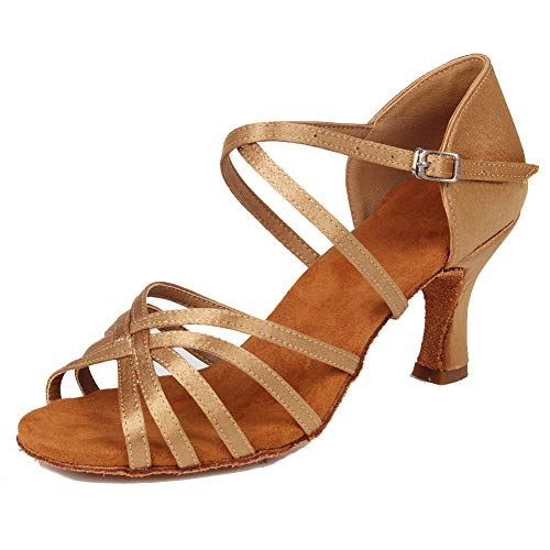 HIPPOSEUS Mujeres Zapatos de Baile Latino Práctica de satén Salón de Baile Zapatos de Baile de Rendimiento...
