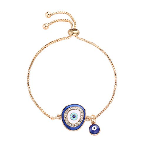 Amarzk Türkische Glück Blue Crystal Evil Eye Armbänder Handmade Gold Ketten Glück Schmuck (# 01)