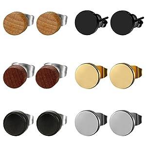 Herren Damen 3 Paare Edelstahl Ohrstecker Set schwarz, OIDEA Punk Rock vintage rund Creolen Ohrringe Set Huggie Piercing Ohr Stecker Durchmesser 6mm 8mm 10mm (6 paare)