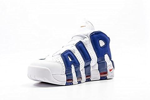 Nike Men's Air More Uptempo, KNICKS WHITE/DEEP ROYAL BLUE, 8.5 M US