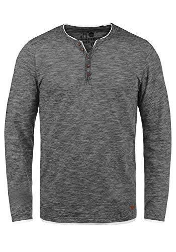 !Solid Belagos Herren Grandad Longsleeve Langarmshirt Aus 100% Baumwolle, Größe:M, Farbe:Black (9000)