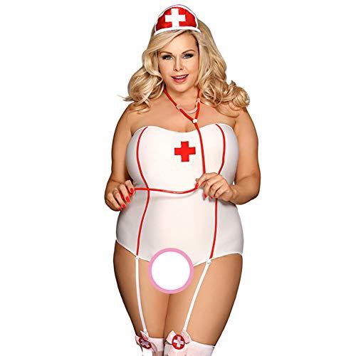 CYYMY Damen Cosplay Krankenschwester Uniform Kostüm Einstellen Anzieh Sexy Tube Oben Erotik Groß Dessous Lingerie Fancy Dress,5XL (Krankenschwestern Überprüfen Sie Krankenschwester Kostüme)