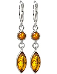 Baltic Honey Amber and Sterling Silver Classic Drop Leverback Earrings