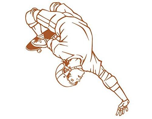 mantiburi Wand Aufkleber No. FB8Skateboard Trick, Farbe: Creme; Maße: 30cm x 28cm