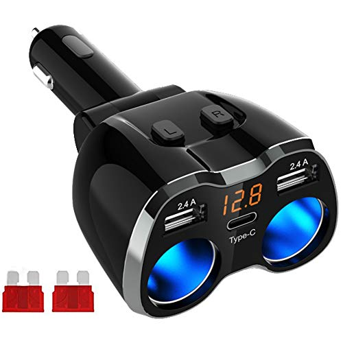 Caricabatteria da Auto Accendino Accendisigari Auto USB Splitter, Adattatore per prese di corrente da 80W con 12V / 24V e doppia porta USB da 2,4 A e tipo